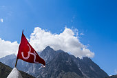 Red Om Flag in the Himalayas