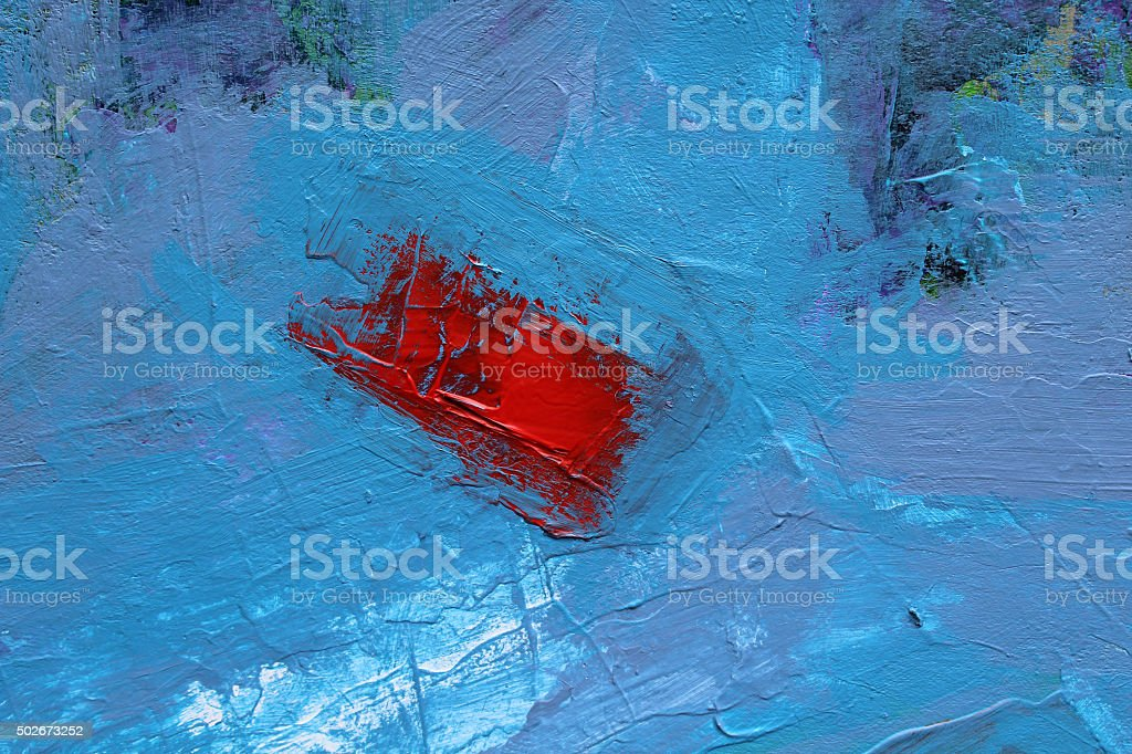 Red On Blue Acrylics Painting. stock photo