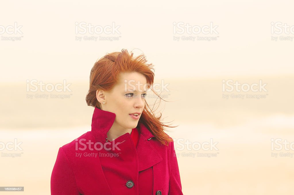 Red on the Beach royalty-free stock photo