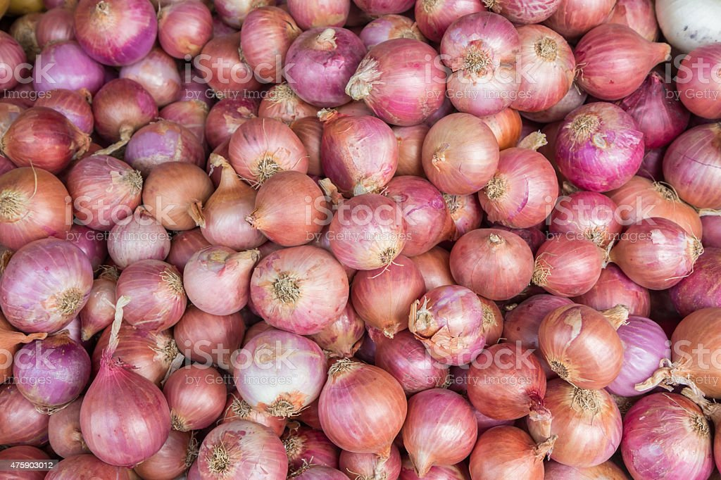 Red onion bulb for sale at market,Thailand royalty-free stock photo