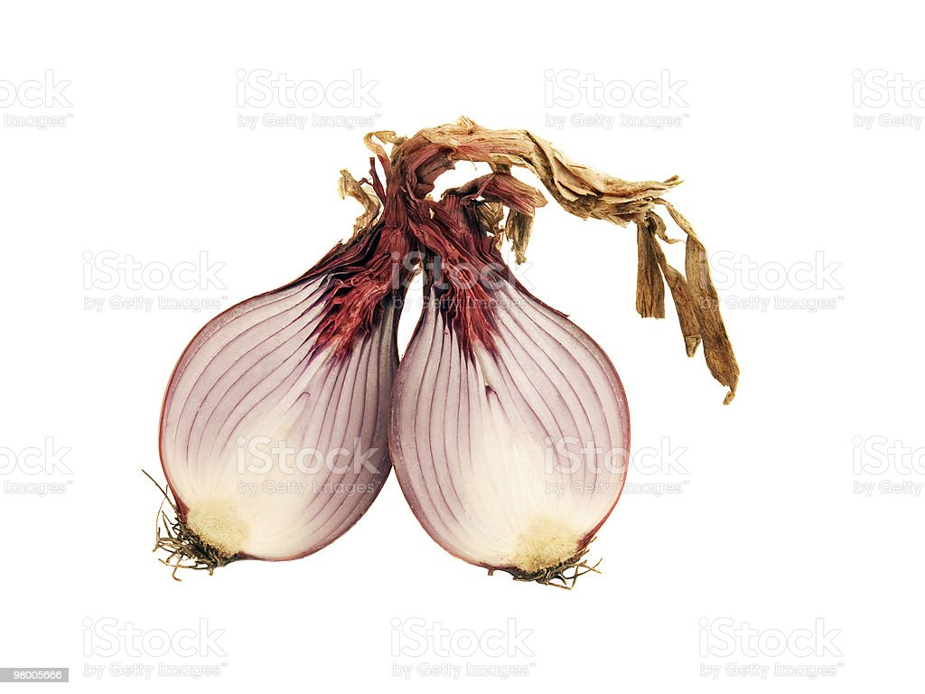 red onion cut in half stock photo