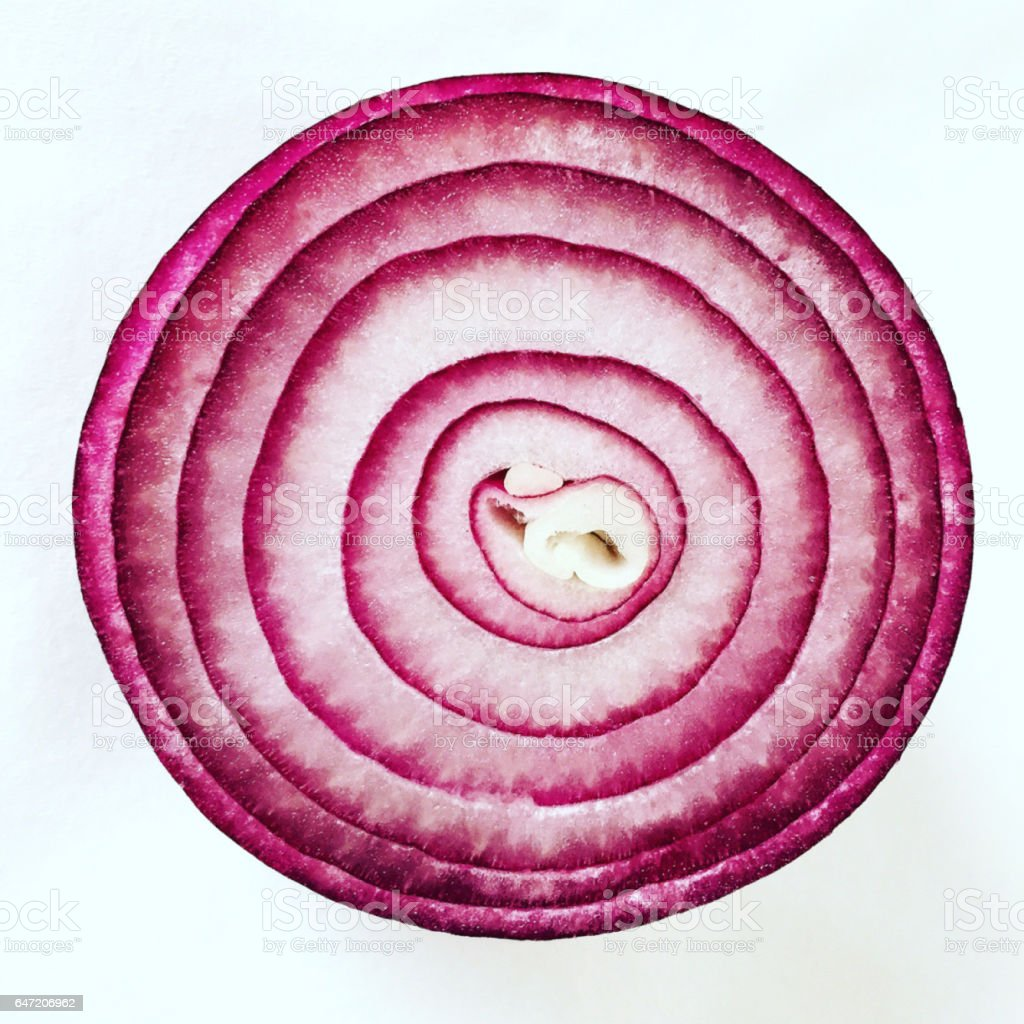 Red Onion Half cut isolated on white background stock photo