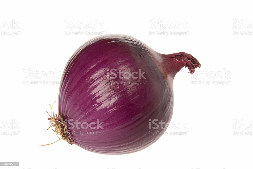 A red onion on a white background stock photo