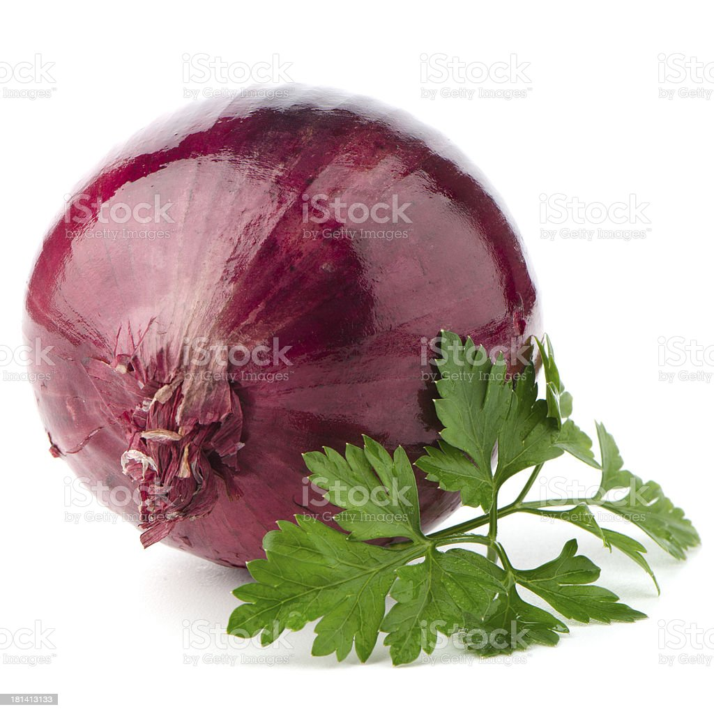 Red onion tuber and fresh parsley stock photo