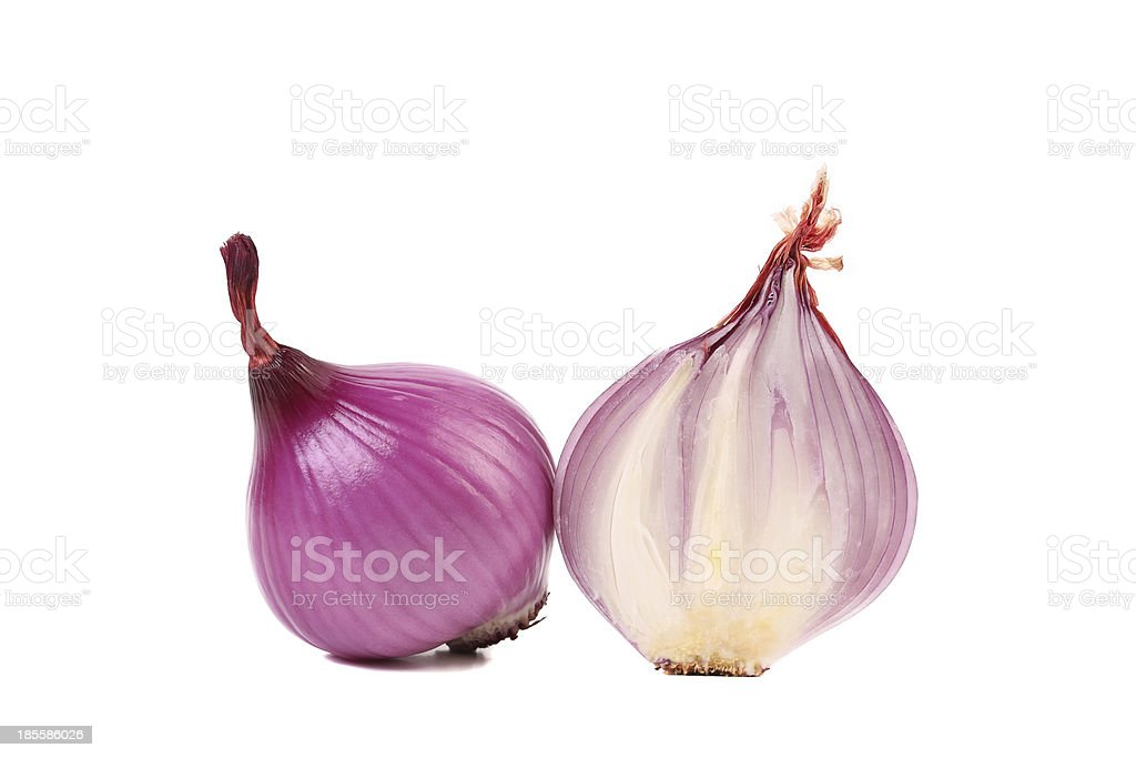 Red onions and slice. royalty-free stock photo