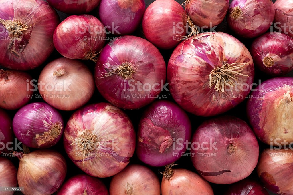 Red onions background stock photo