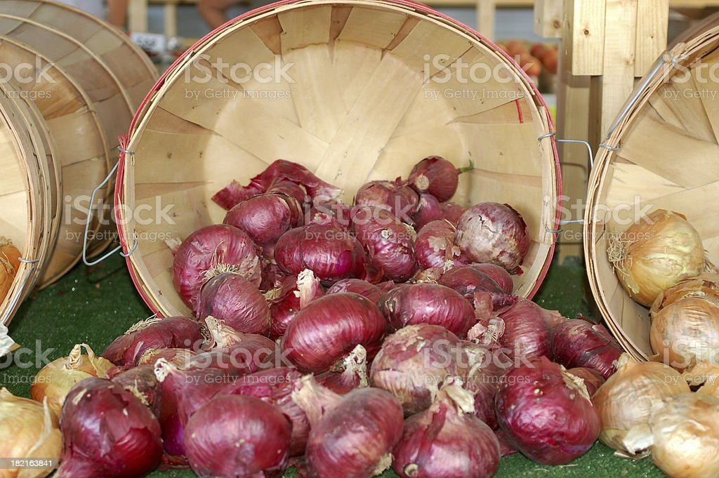 Red Onions in Basket stock photo