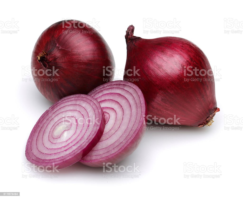 Red onions with slices stock photo