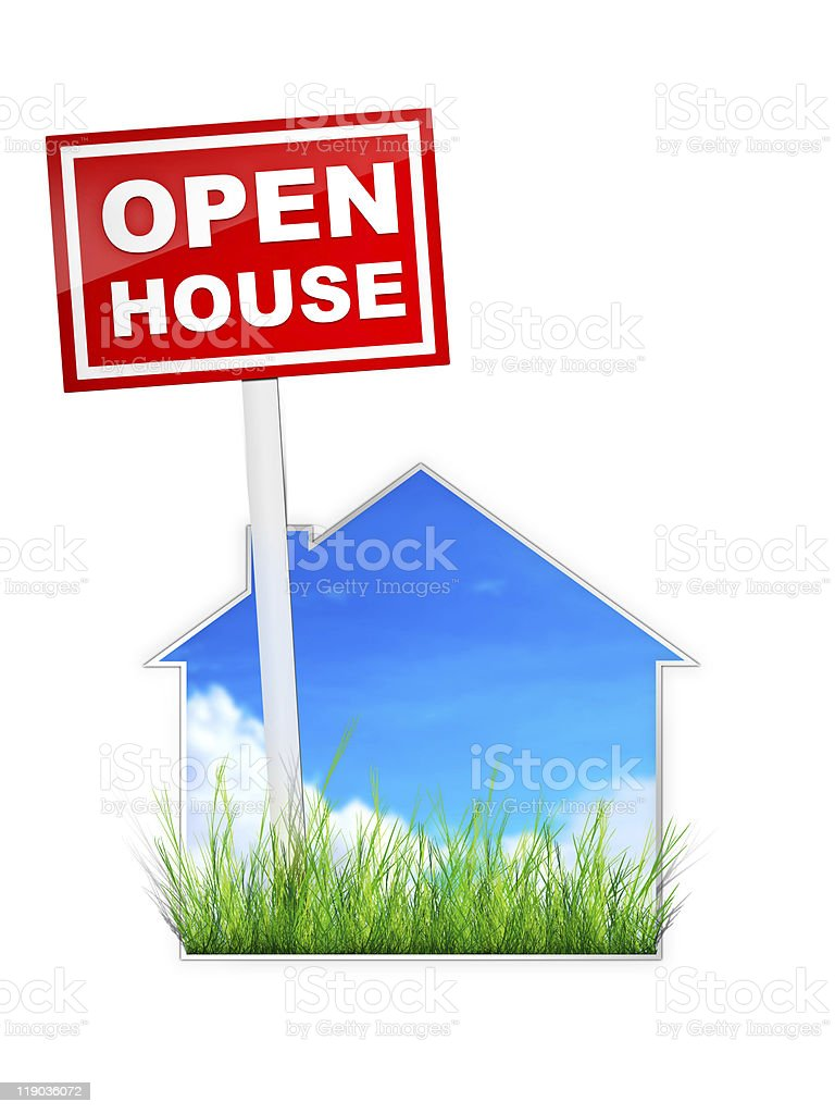 A red open house sign on a blue house shape royalty-free stock photo