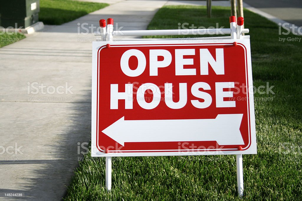 Red Open House Sign royalty-free stock photo