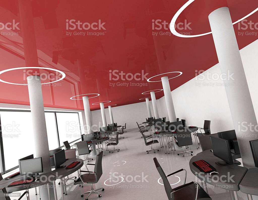 red open space work Office stock photo