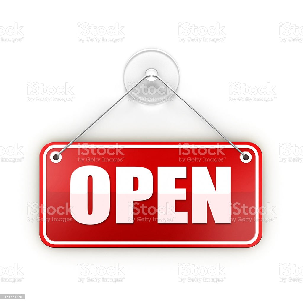 red open Sticky sign stock photo