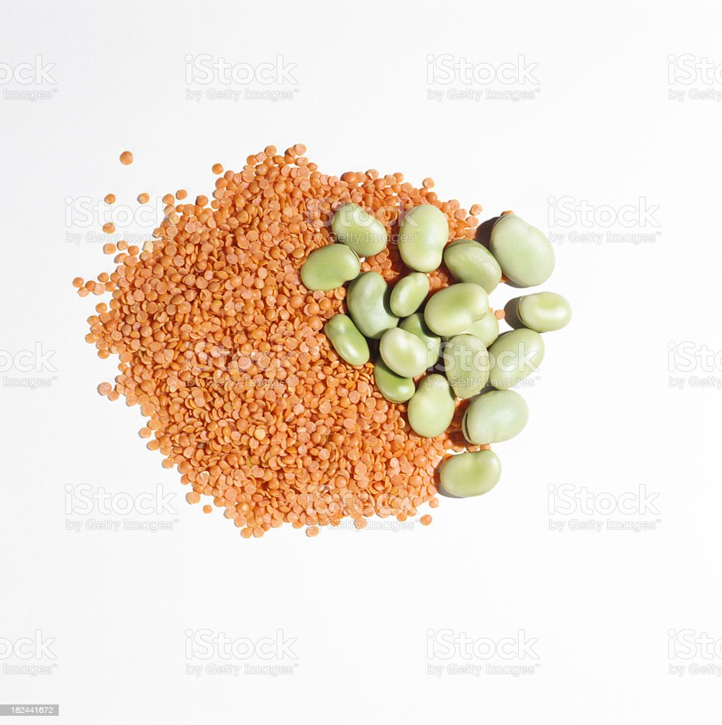 Red or Orange lentils with fava beans stock photo