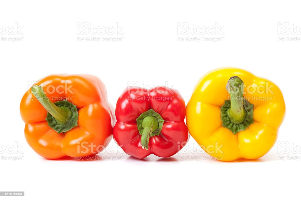 Red, Orange and Yellow Bell Peppers royalty-free stock photo