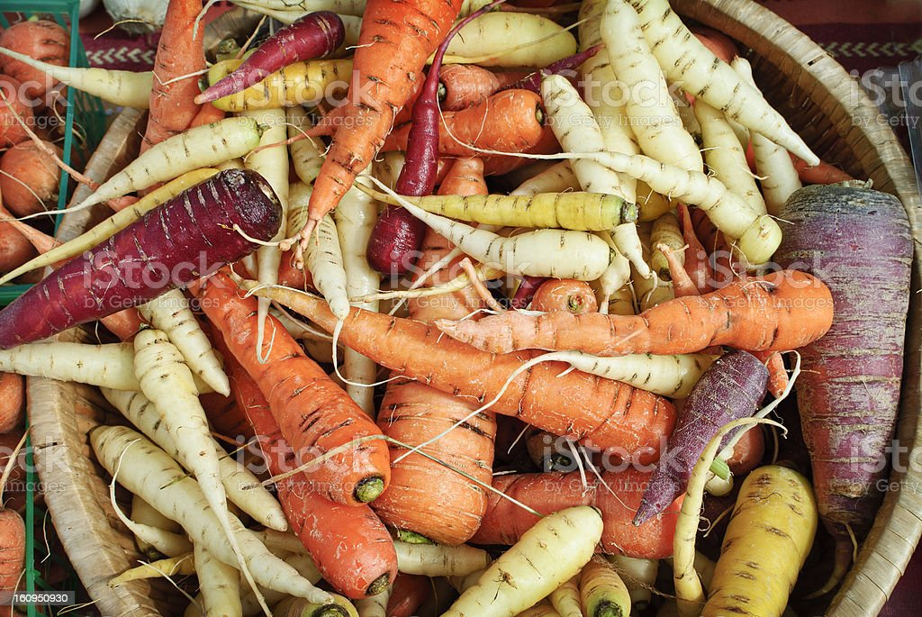 Red, orange, and yellow carrots stock photo