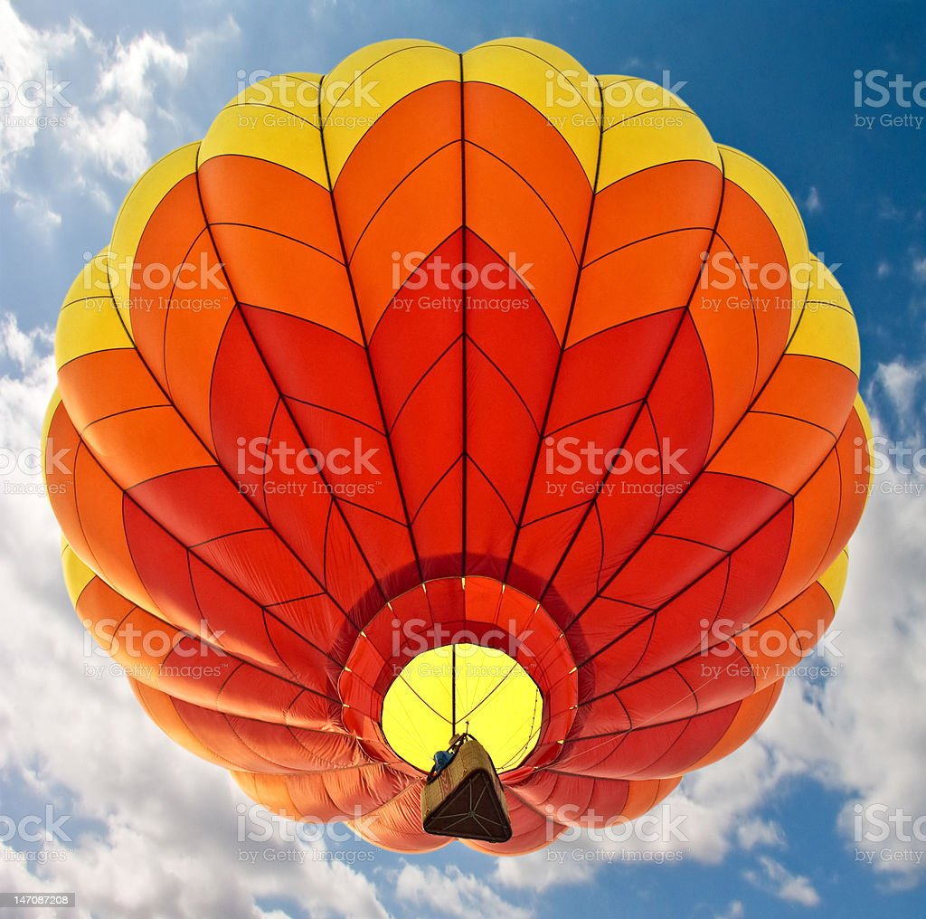 Red, Orange and Yellow Hot-Air Balloon royalty-free stock photo