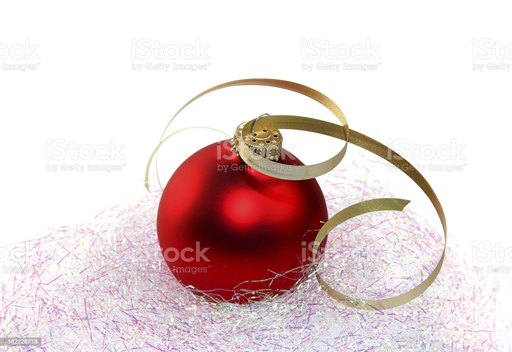 Red Ornament and Gold Ribbon stock photo