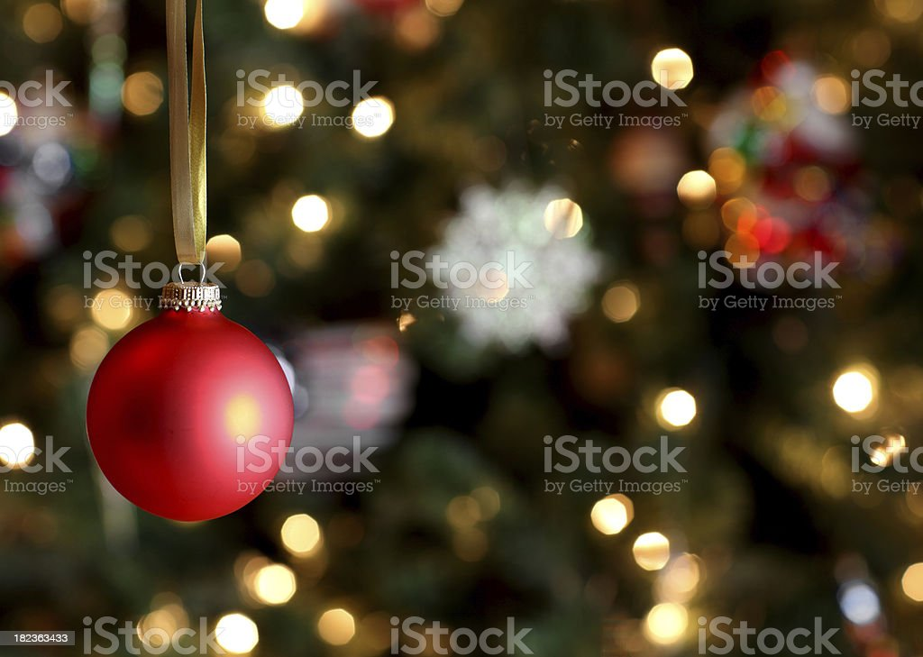 Red Ornament Hanging on Tree stock photo