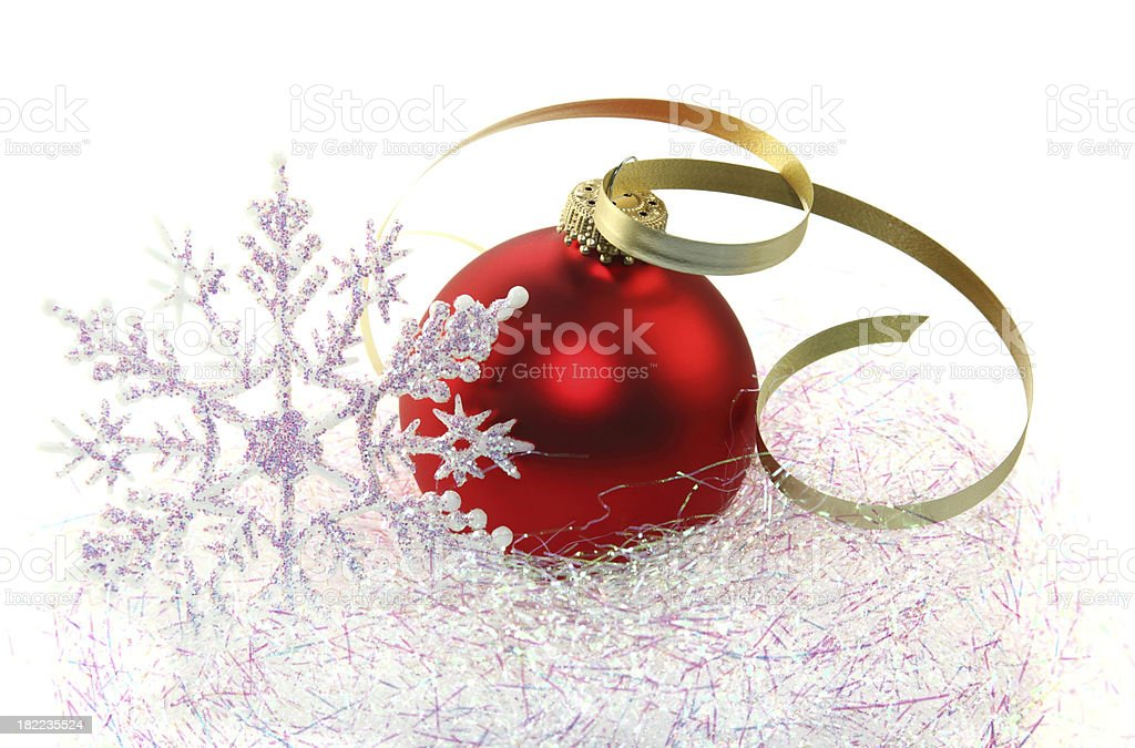 Red Ornament with Snowflake stock photo