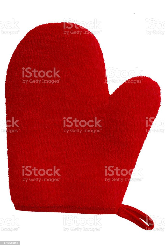 red oven glove mitt isolated on white background royalty-free stock photo