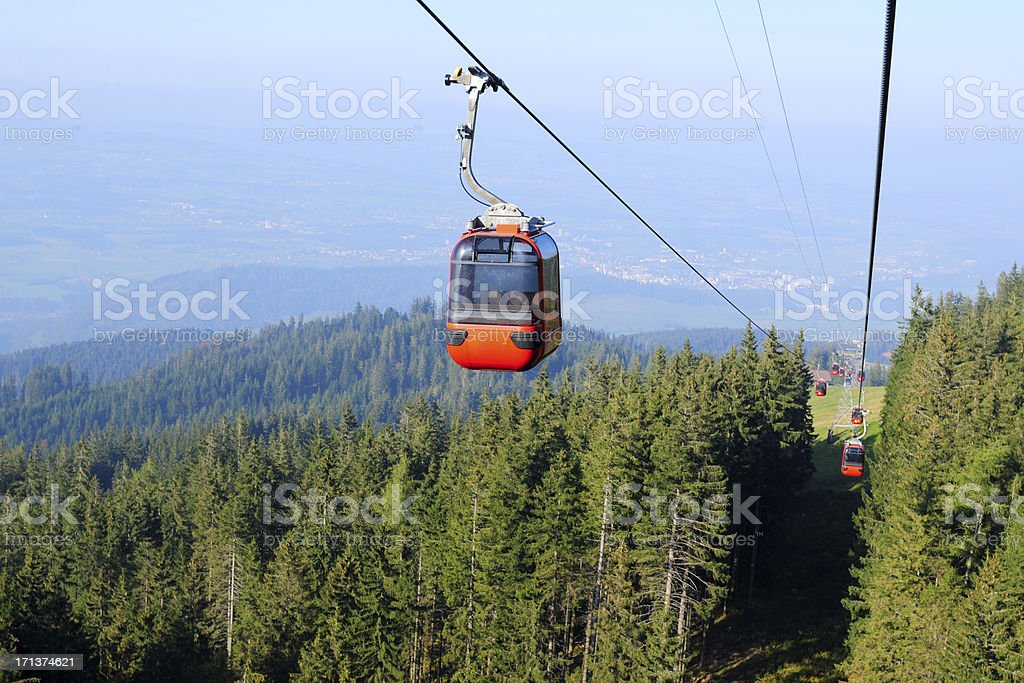 Red Overhead Cable Car - XLarge royalty-free stock photo
