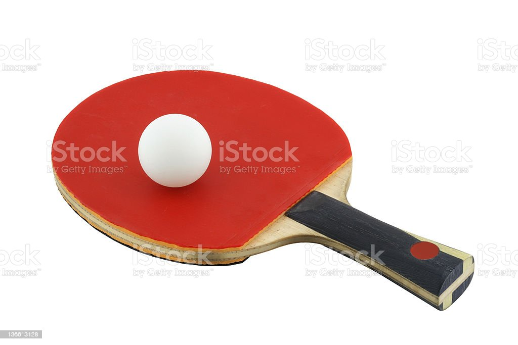 Red paddle and ball for table tennis ping-pong stock photo