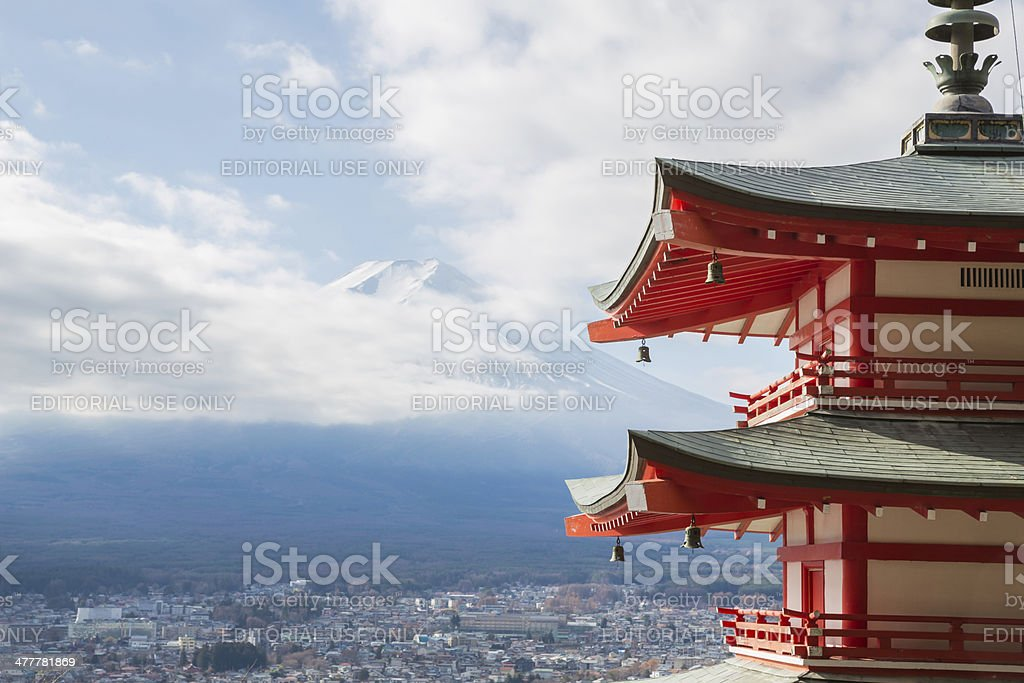 Red pagoda with Mountain Fuji stock photo