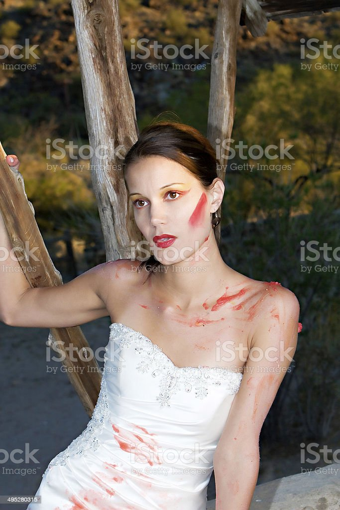 Red Paint Bride stock photo