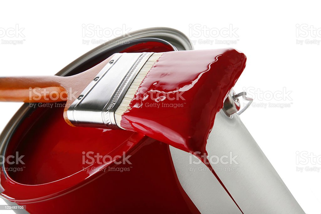 red paint brush and can royalty-free stock photo