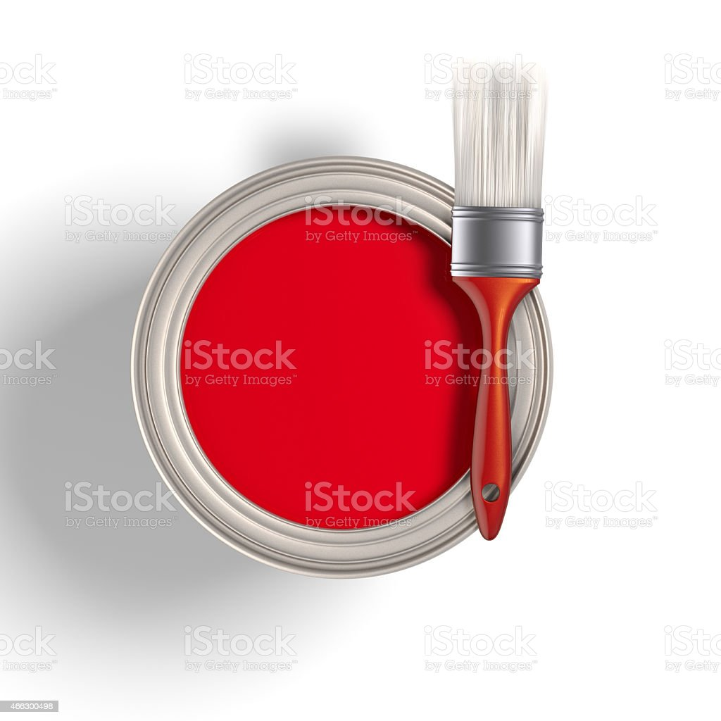 red paint bucket and brush on isolated white background stock photo