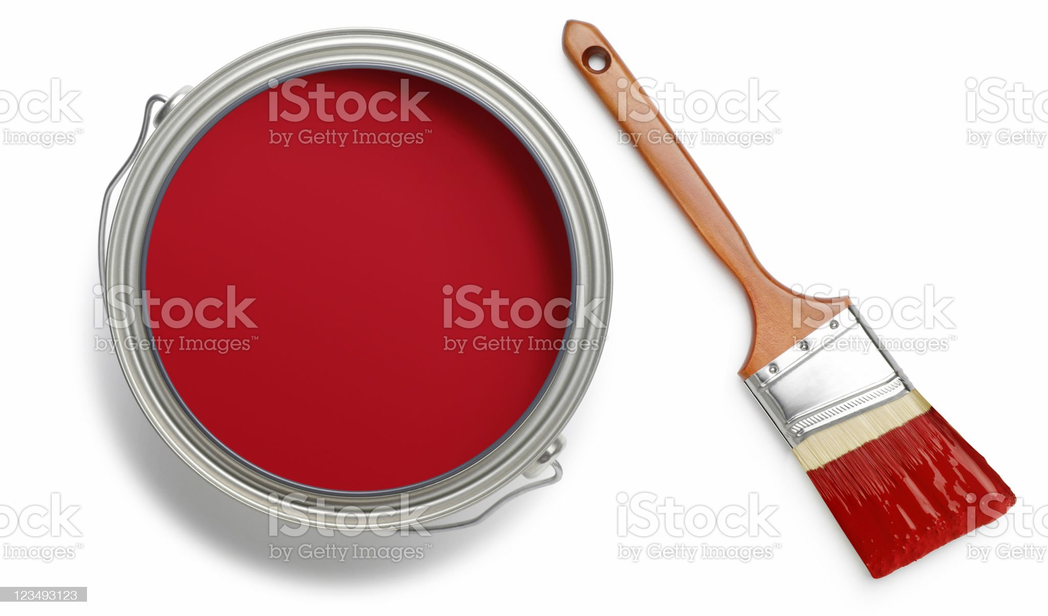 red paint can and brush royalty-free stock photo