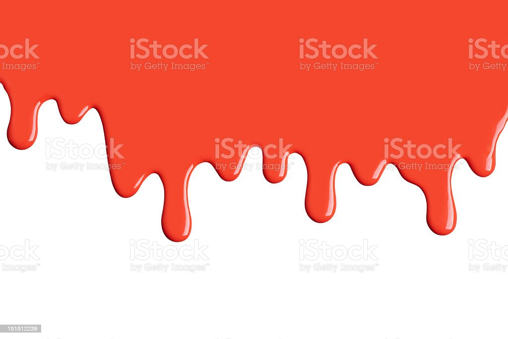 Red paint dripping down on white stock photo