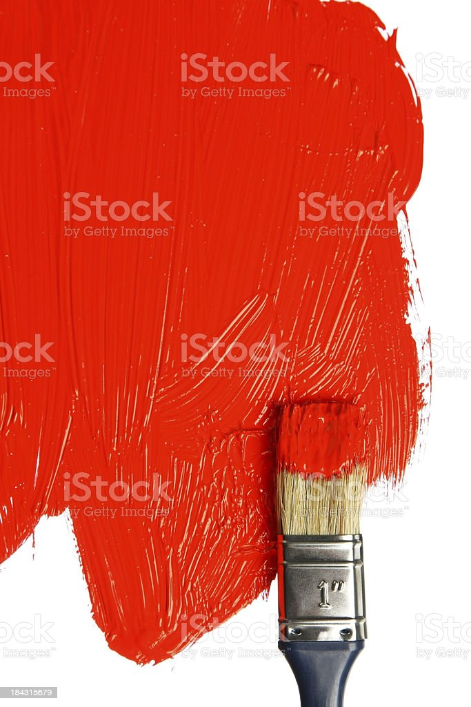 Red paint on a paintbrush royalty-free stock photo