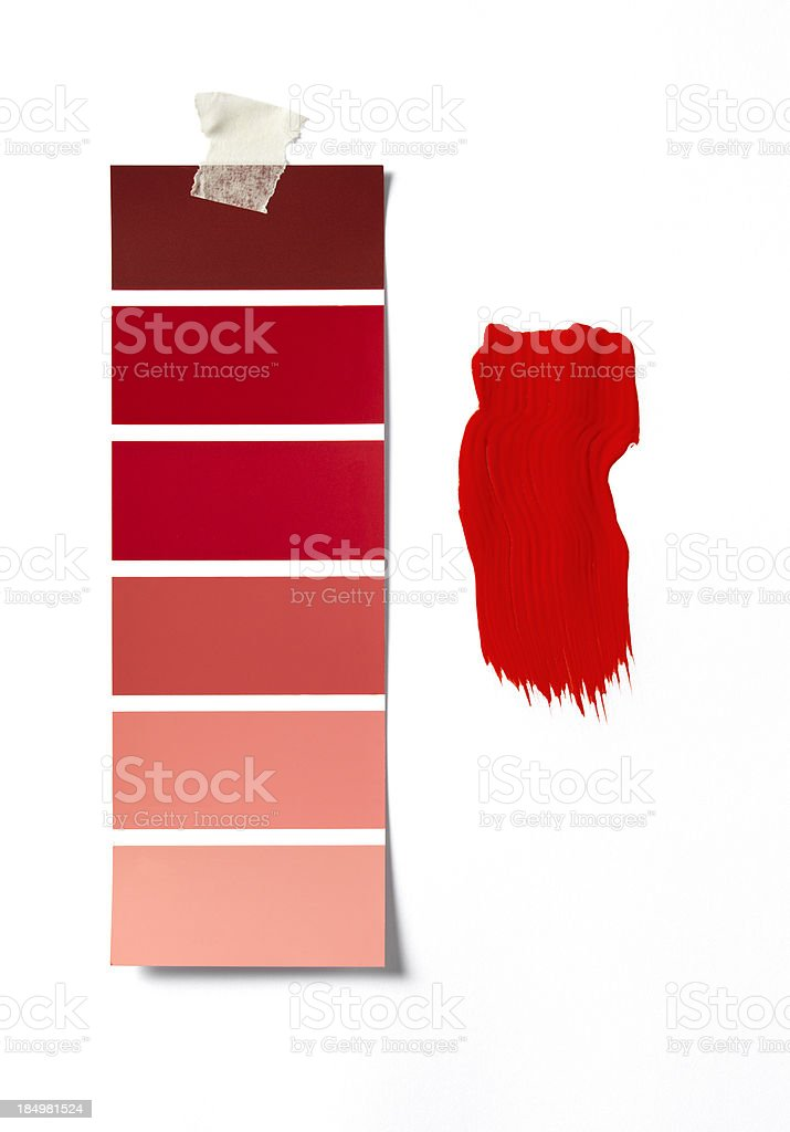 Red paint swatch and sample stock photo