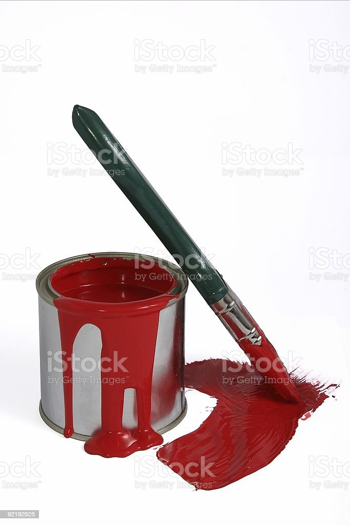 Red paint tin and brush royalty-free stock photo