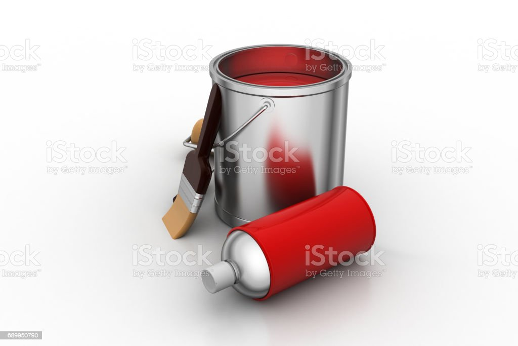 Red paint with tools stock photo
