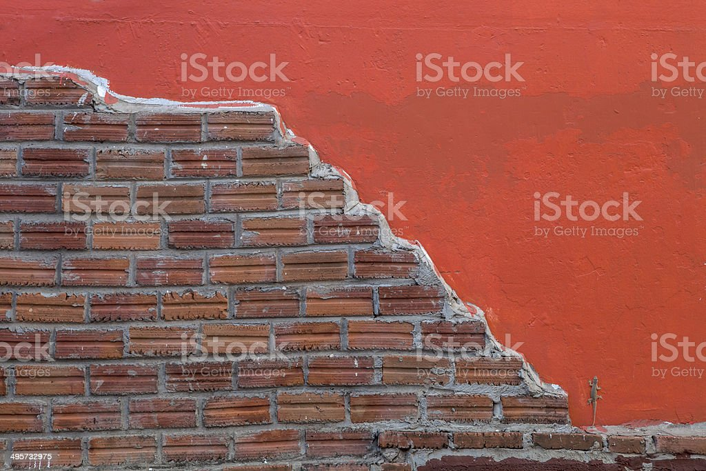 red painted and brick wall background having lizard or gecko stock photo