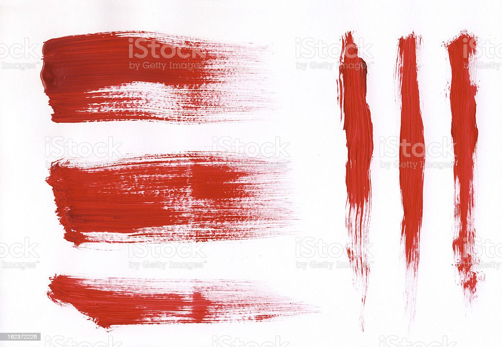 Red painted brush strokes stock photo