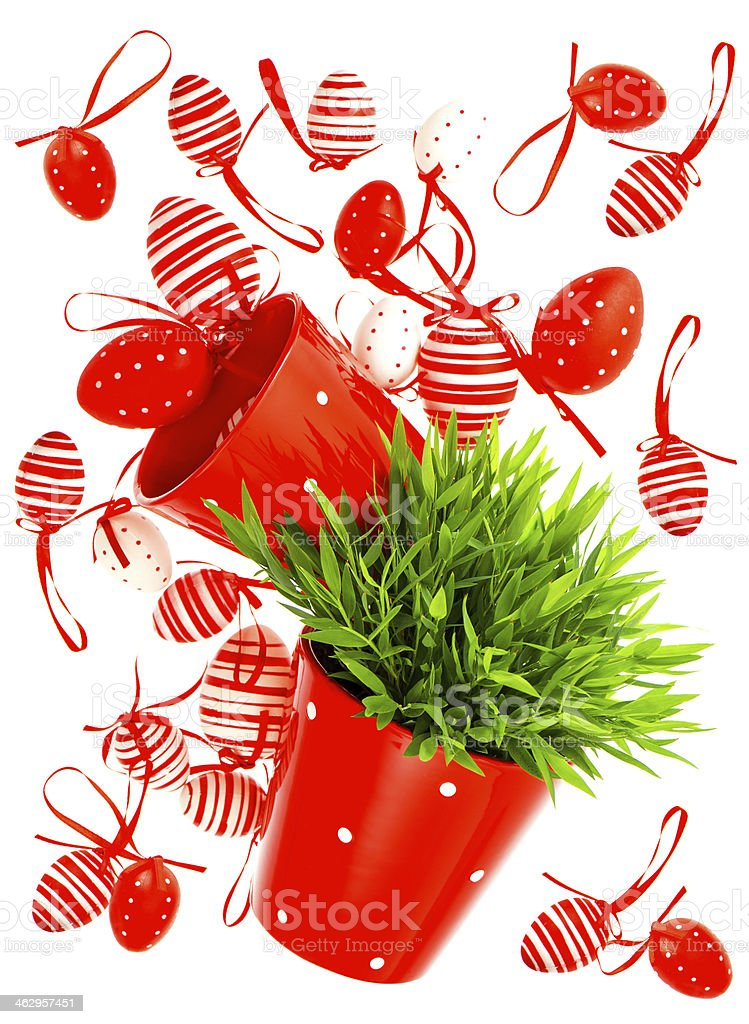 red painted easter eggs with green grass stock photo