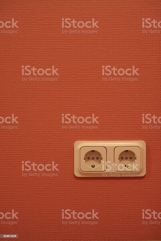 red painted textured wallpaper and outlet royalty-free stock photo