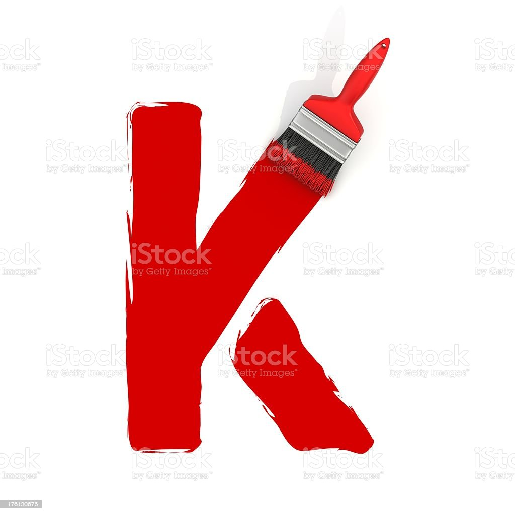 red painting letter K stock photo