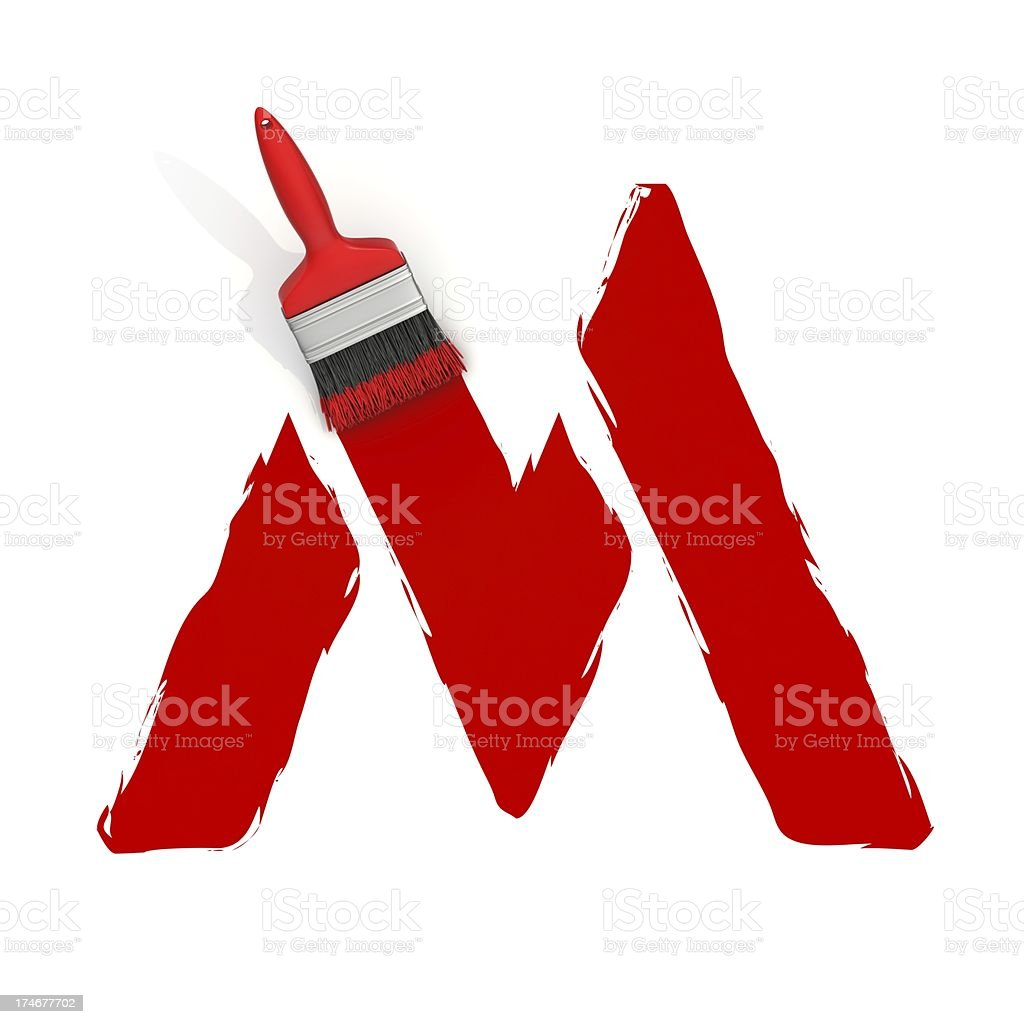 red painting letter M royalty-free stock photo