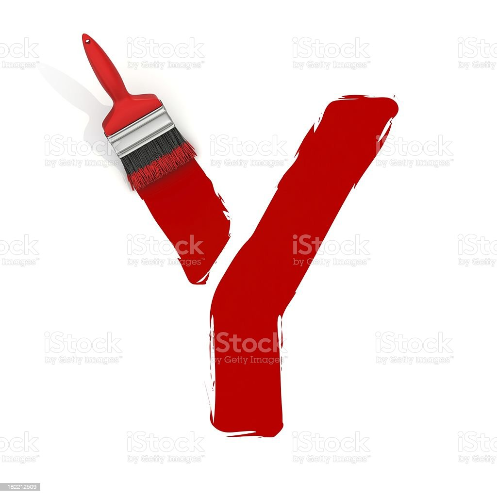 red painting letter Y stock photo