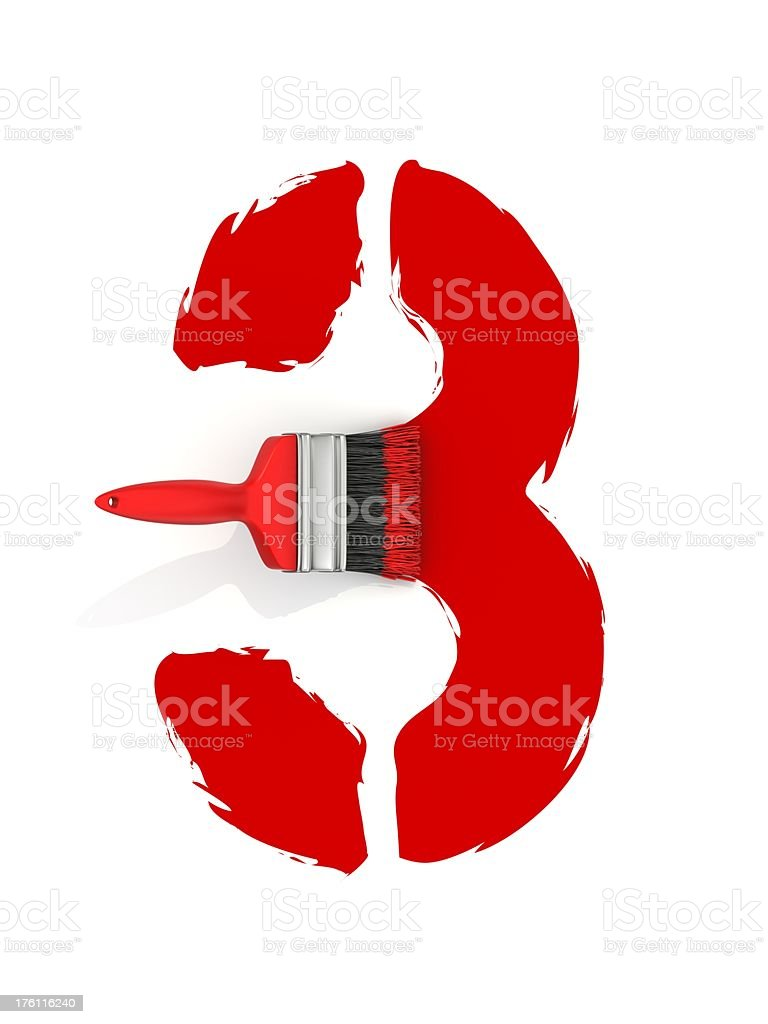 red painting number 3 royalty-free stock photo