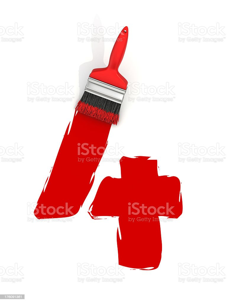 red painting number 4 royalty-free stock photo