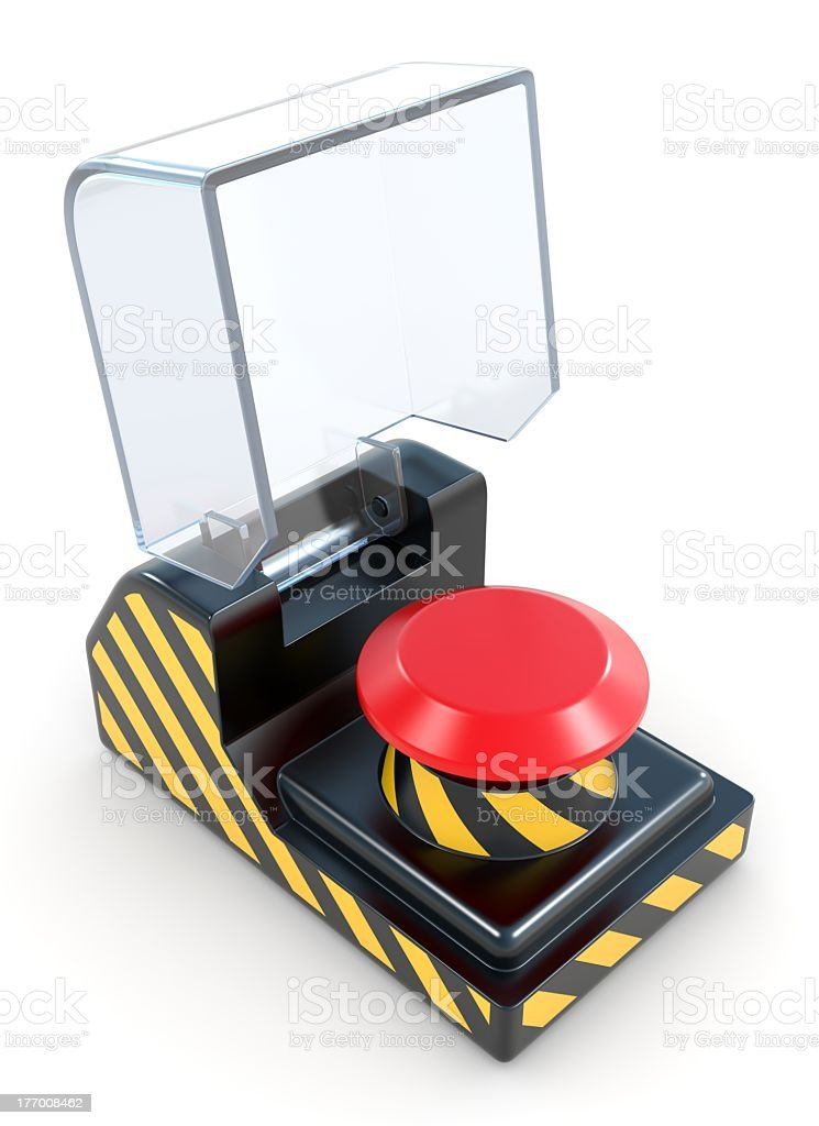 Red panic button isolated on a white background stock photo