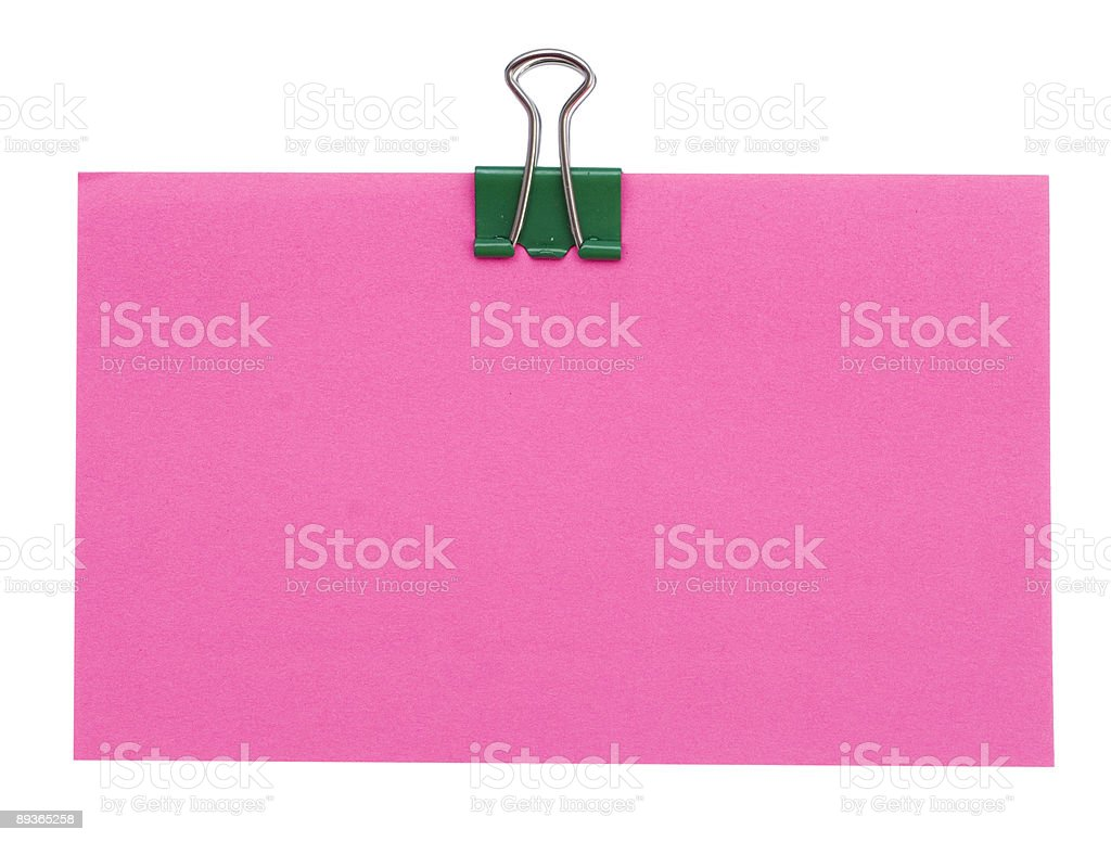red paper and green clip royalty-free stock photo