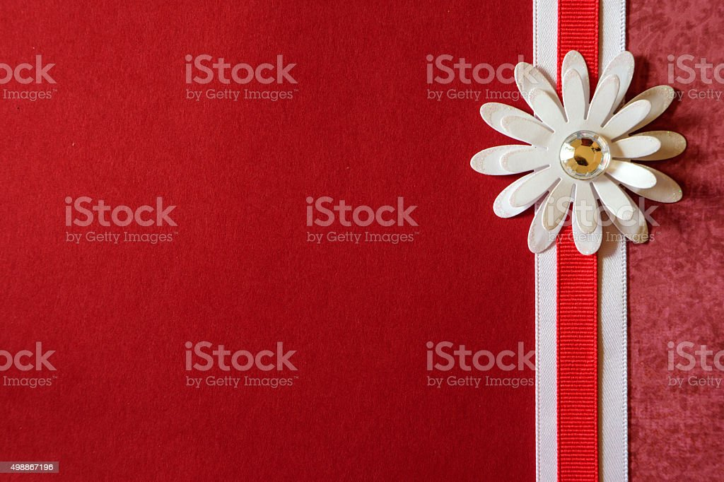 Red Paper Background with White Floweer and Ribbon Border stock photo
