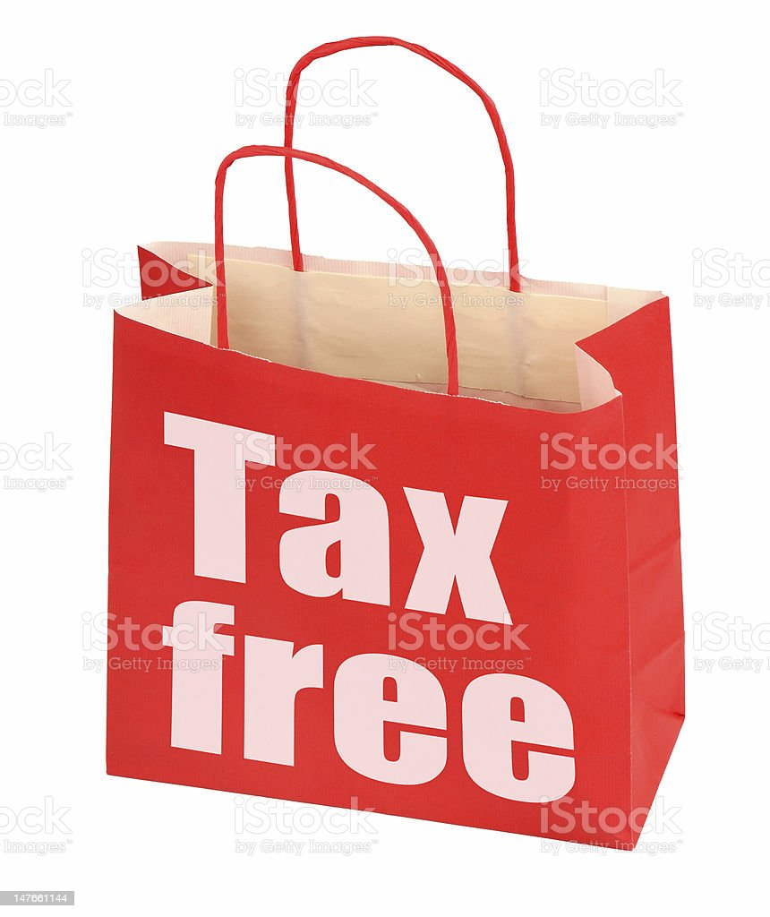 red paper bag with tax free sign royalty-free stock photo