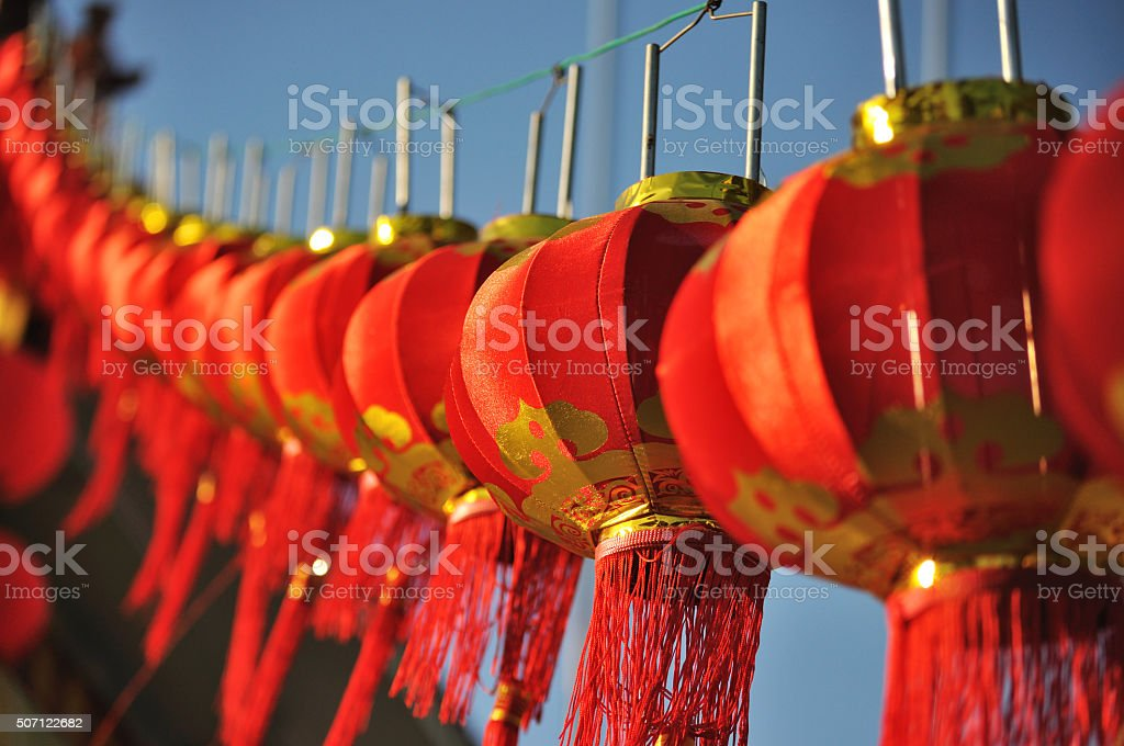 Red paper chinese lanterns stock photo
